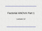 Lecture 12 Factorial ANOVA I