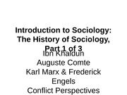 History of Sociology lecture, part 1