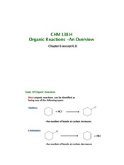 Chapter 6 - Organic Reaction Overview