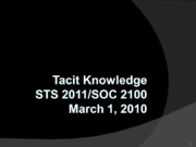 Tacit Knowledge 030110