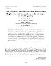1. The effects of auditor rotation, professional skepticism, and interactions with managers on audit