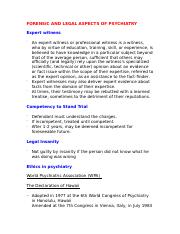 FORENSIC AND LEGAL ASPECTS OF PSYCHIATRY.doc