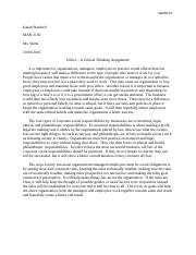 Ethics - A Critical Thinking Assignment.docx