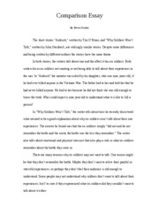 Point of Comparison essay
