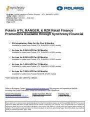 Polaris Atv Ranger Rzr Promo Rate Sheet Pdf Program Polaris Installment Finance Program Atv Ranger Rzr Todays Date Effective Date For Dealer Use Only Course Hero