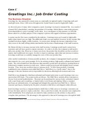 Case 1 Job Order Costing - Greetings, Inc..docx