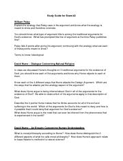 Exam 2 Study Guide Paley Hume -Spring 15.doc