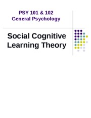 PSY 101  102 - Social Observational Learning.ppt