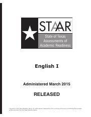 STAAR-2015-Key-EOC-Eng1 (1) - STAAR English I Answer Key ...