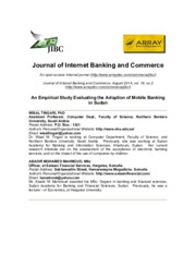 An Empirical Study Evaluating the Adoption of Mobile Banking in Sudan