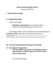 Lecture 1- Perspectives in Sociology Lecture Notes