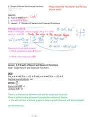 2.7 Graphs of Secant and Cosecant Functions