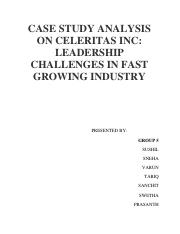 celeritas inc leadership challenges in a fast growth industry