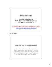 Lecture 14 Mental Health