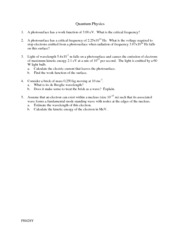 Quantum Physics worksheet