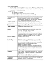 Article Summary Tables 5