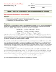 PHY121 LAB 11 Evaluation of the Cost Effectiveness of Antacids(PRE-LAB)