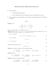 Math 314 Practice Final Exam Solutions