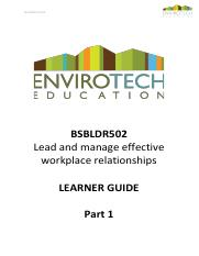 LEARNER GUIDE - BSBLDR502 - Lead and manage effective workplace relationships.pdf