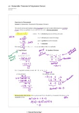 Remainder Theorem Polynomial Divison