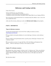 Reference and Catalog Activity