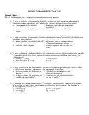 MEDICATION ADMINISTRATION EXAM SAMPLE