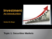 Topic 1- Securities Markets