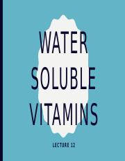 Lecture 12_Water Soluble Vitamins