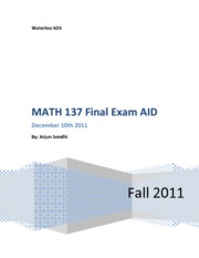SOS MATH 137 Final Review Package