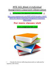 MTE 501 Week 4 Individual Assignment Classroom Observation.doc