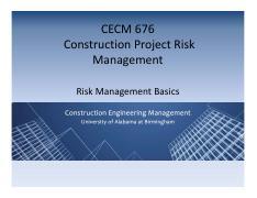 Week 8 - Project Risk 3 slides pdf - CECM 669 Advanced