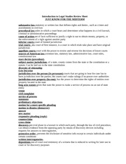Introduction to Legal Studies Review Sheet