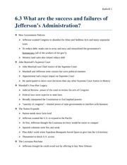 6.3 What are the success and failures of Jefferson