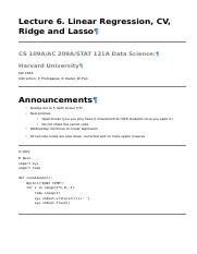 Lecture 6 - Linear Regression, CV, Ridge and Lasso.html