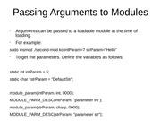 Passing Arguments to Modules