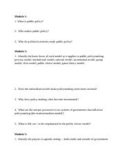 Review questions for Public Policy