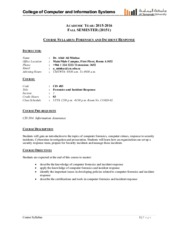 COURSE SYLLABUS - CIS 483 - Forensics and Incident Response_Fall2015