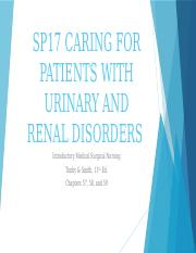 SP17 CARING FOR PATIENTS WITH URINARY AND
