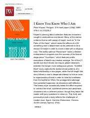Fiction Book Review: I Know You Know Who I Am by Peter Kispert. Penguin, $16 trade paper (226p) ISBN