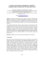 Journal (SD example)- Using the System Dynamics Methodology to Model the Competitive Index of Firms