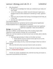 Bio Lecture Notes Lecture 1-4 (Test 1)