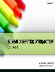 CST 362-2_HCI - Lecture 1 - Introduction to HCI
