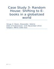 Random House: Shifting to E-books in a globalized world