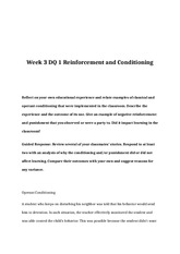 EDU 372 Week 3 DQ 1 Reinforcement and Conditioning