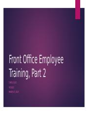 Front Office Employee Training, Part 2