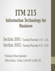 ITM 215 - Lecture 8 - Intro to Excel