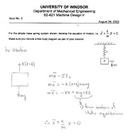 MECH 411 Winter 2007 Quiz 1 Solutions