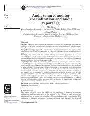 Audit tenure, auditor specialization and audit report lag