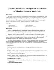 Green Chemistry Analysis of a Mixture