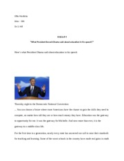 Article # 4 - What President Obama said about education in his speech - analysis